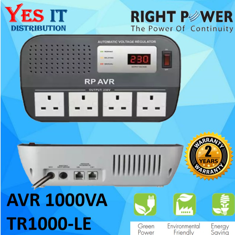 RIGHT POWER AVR 1000VA TR1000-LE Voltage Regulator