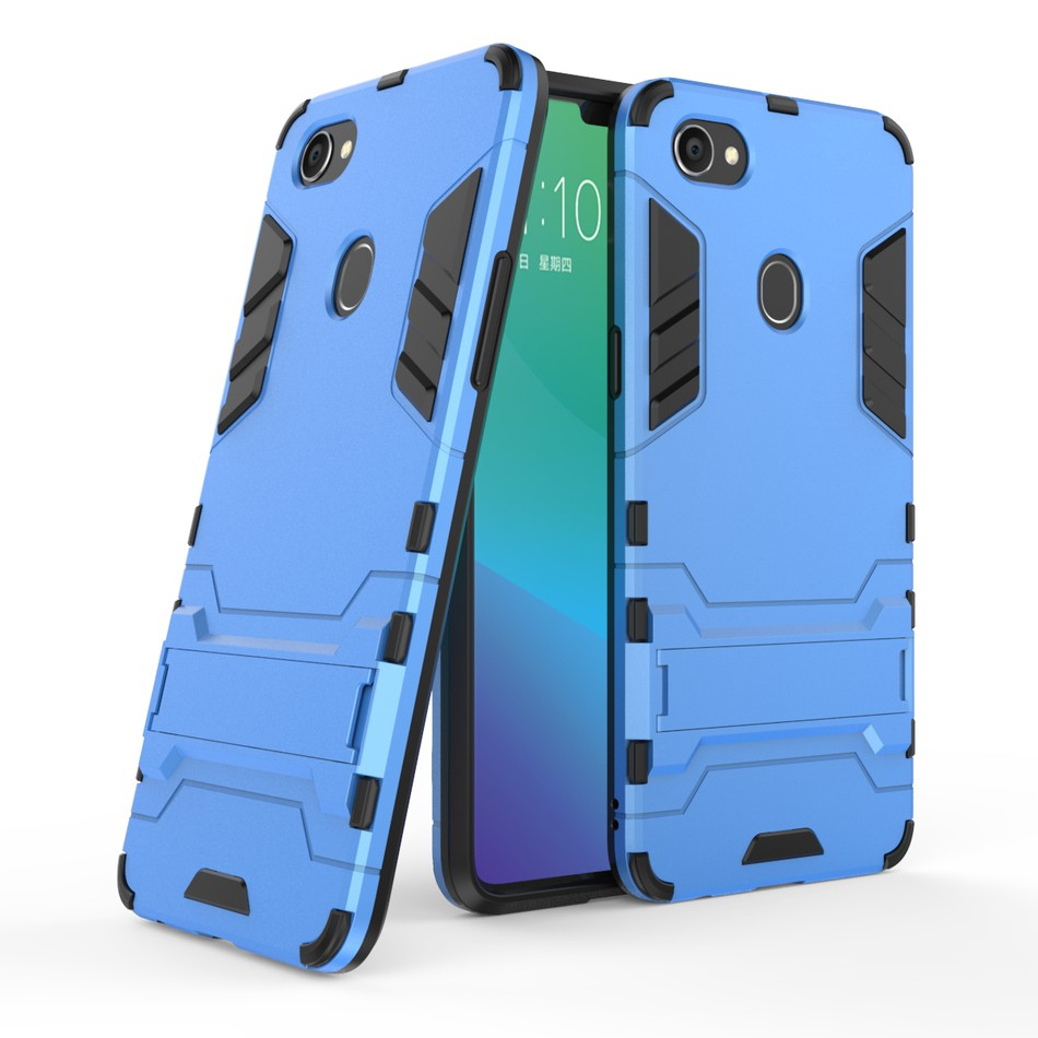 OPPO F9 Pro Case Hard PC+Soft TPU Armor Bracket Protective Back Stand Cover | Shopee Malaysia