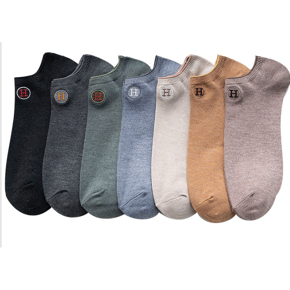 ONE PAIR EVON 006 H SOCKS ANKLE CALF LENGTH COMFORTABLE BREATHABLE EMBROIDERY