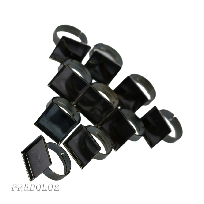 10Pcs 16 x 16mm Square Bezel Adjustable Ring Blank Base Cabochon Ring Jewelry Findings