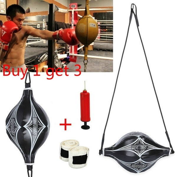 Leather Double End Speed Ball MMA Boxing Punch Bag Bodybuilding Fitness Sports