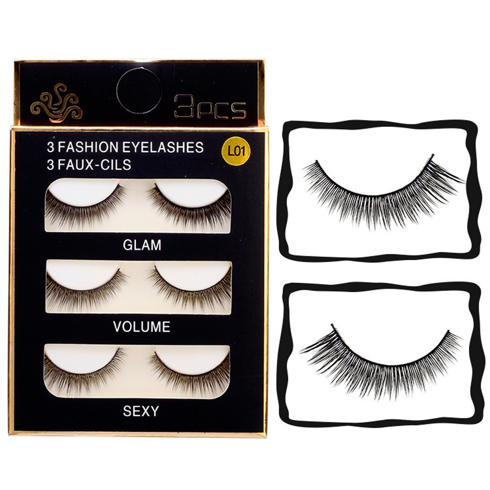 b9236bb129e (RAYA)3 Pairs Natural Long Fake Eye Lashes Handmade Thick False Eyelashes