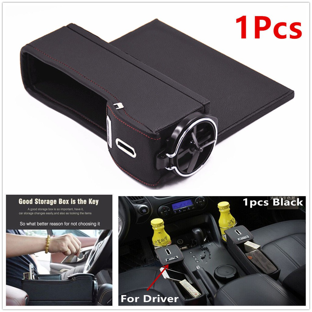 2X Car Driver Side Seat Storage Box Catcher Gap Filler Coin Collector Cup Holder