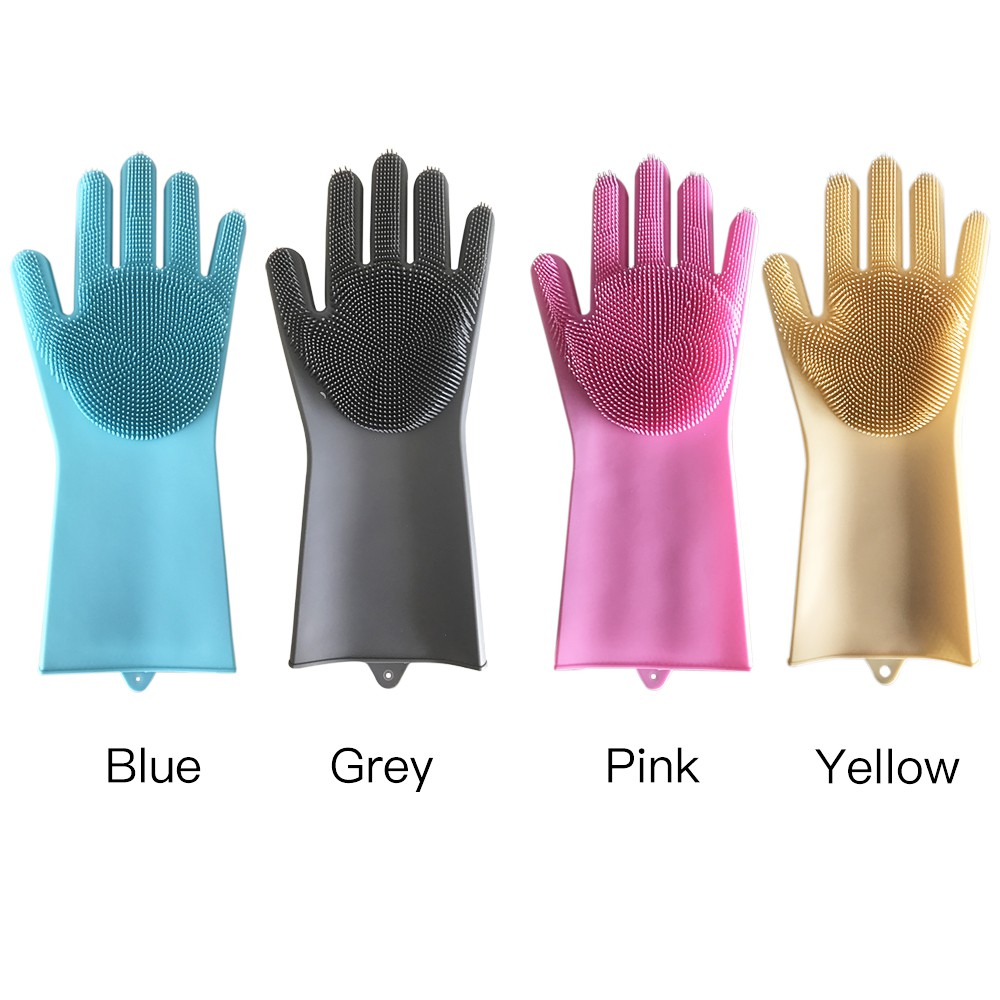 3cfe6e540 ProductImage. ProductImage. 1 Pair Magic Silicone Rubber Dishwashing Gloves  Scrubber ...