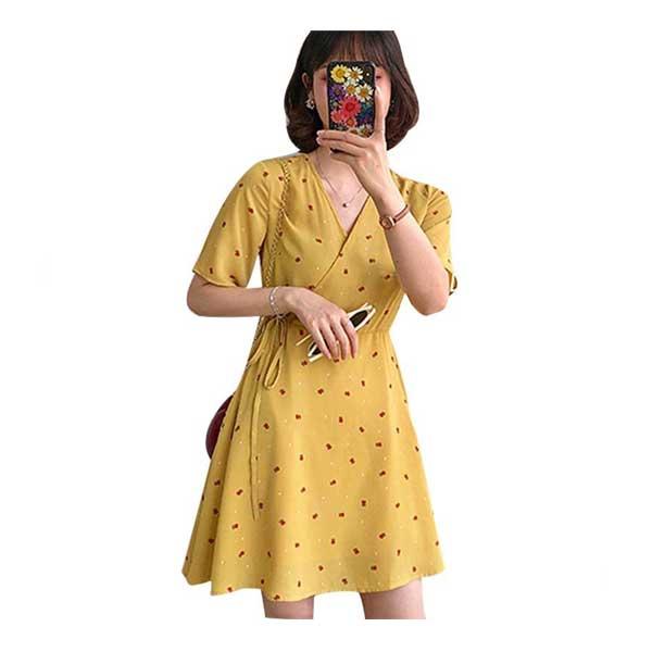 [พร้อมส่ง ของถึงไทยเเล้ว] 0901 Women's Fashion Floral Print Dress V-Neck Short Sleeve Elegant Dress
