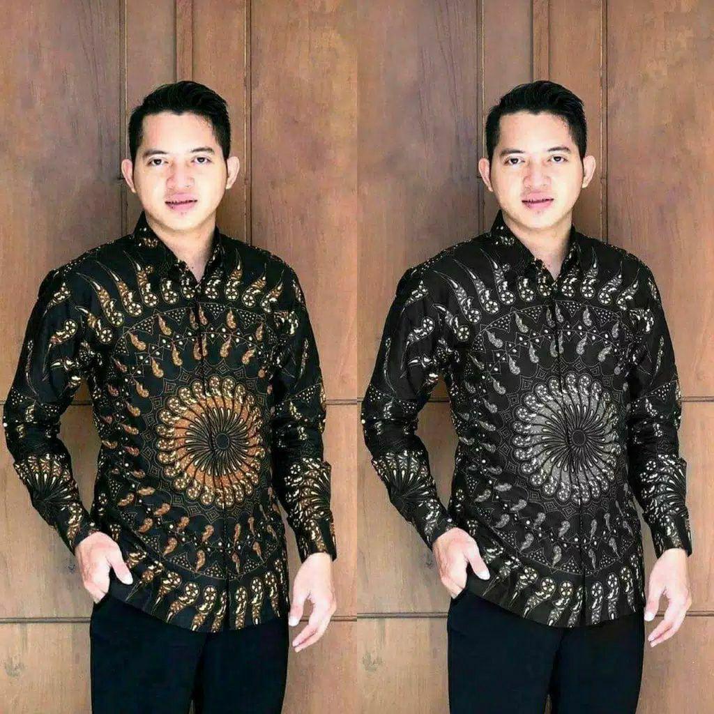 Batik Shirt Men Top BATIK Clothes Uniform Arm Long M L XL XXL Smooth Cotton BP247