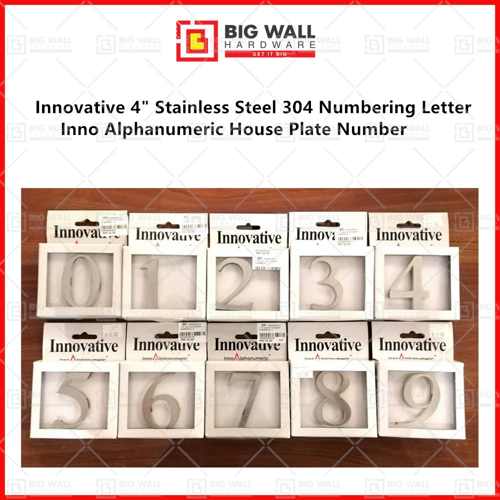 Innovative 4 / 6 Inch Stainless Steel 304 Inno Alphanumeric House Plate Number Big Wall Hardware