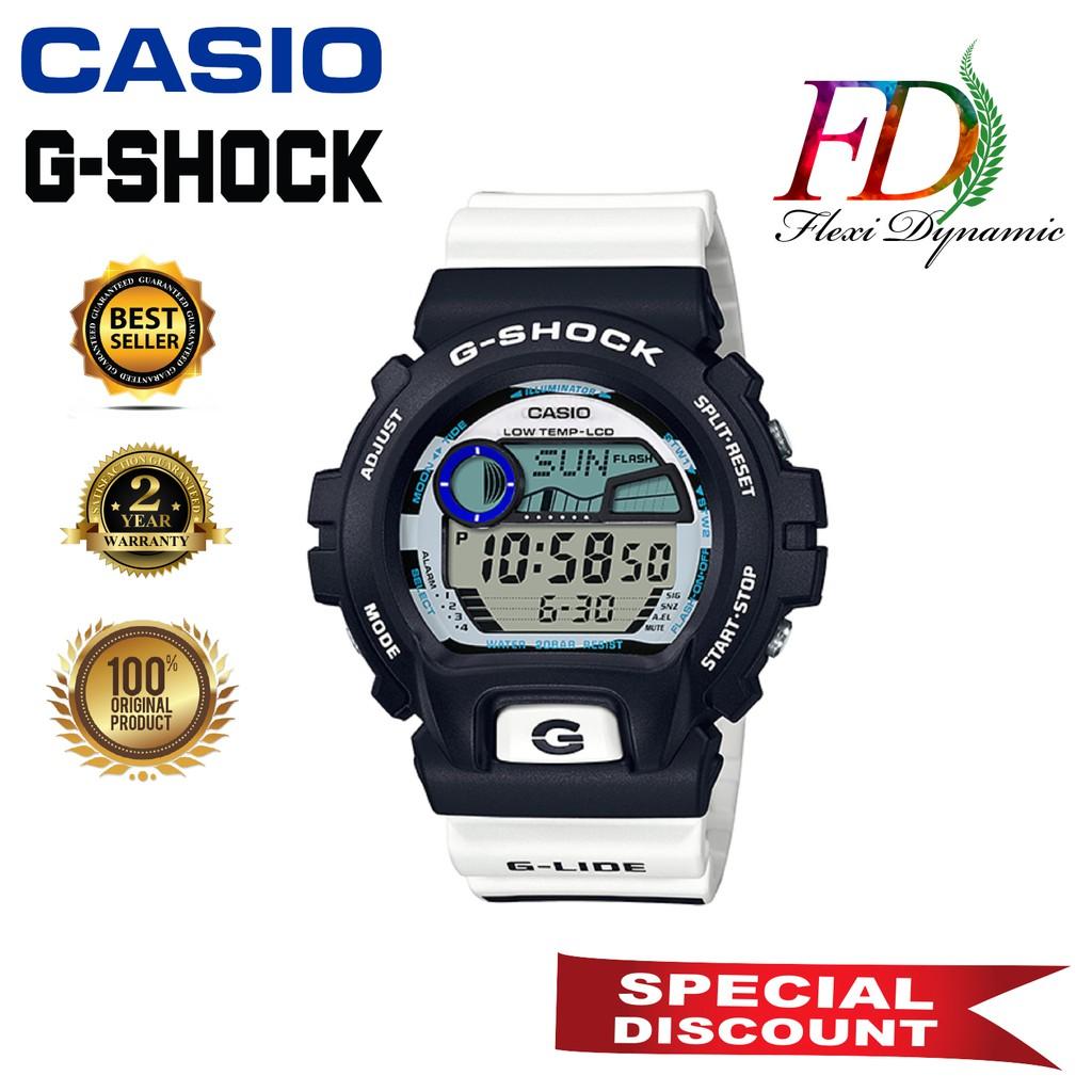 Original GLX-6900SS-1 White Resin Strap Digital Watch/Band Men Sports Watch Casio G-Shock