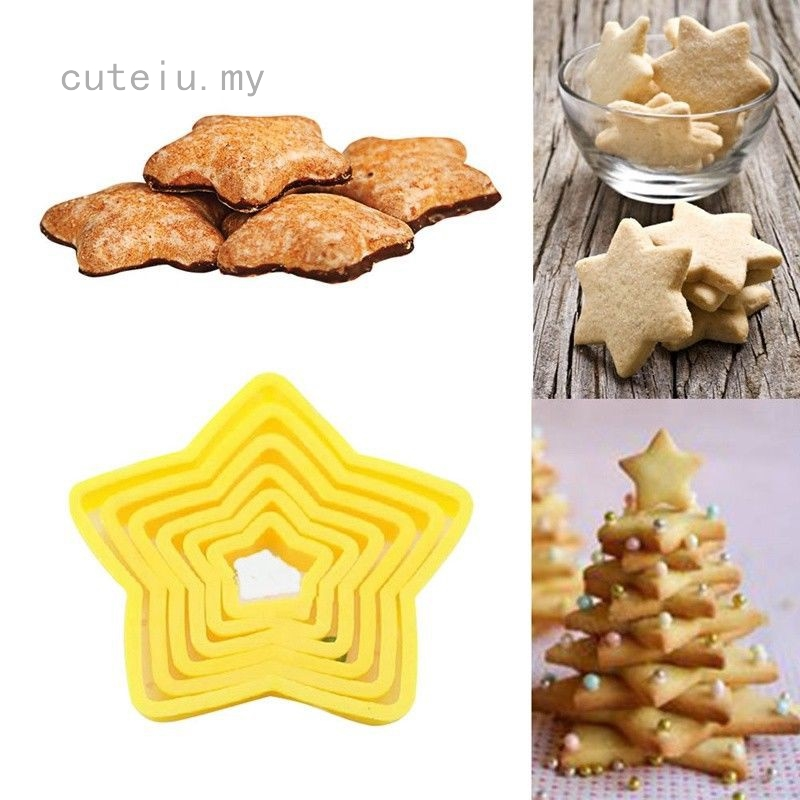 3D Christmas Tree Star Decoration Cutters Cookie Biscuit Set for Gift Pack of 6