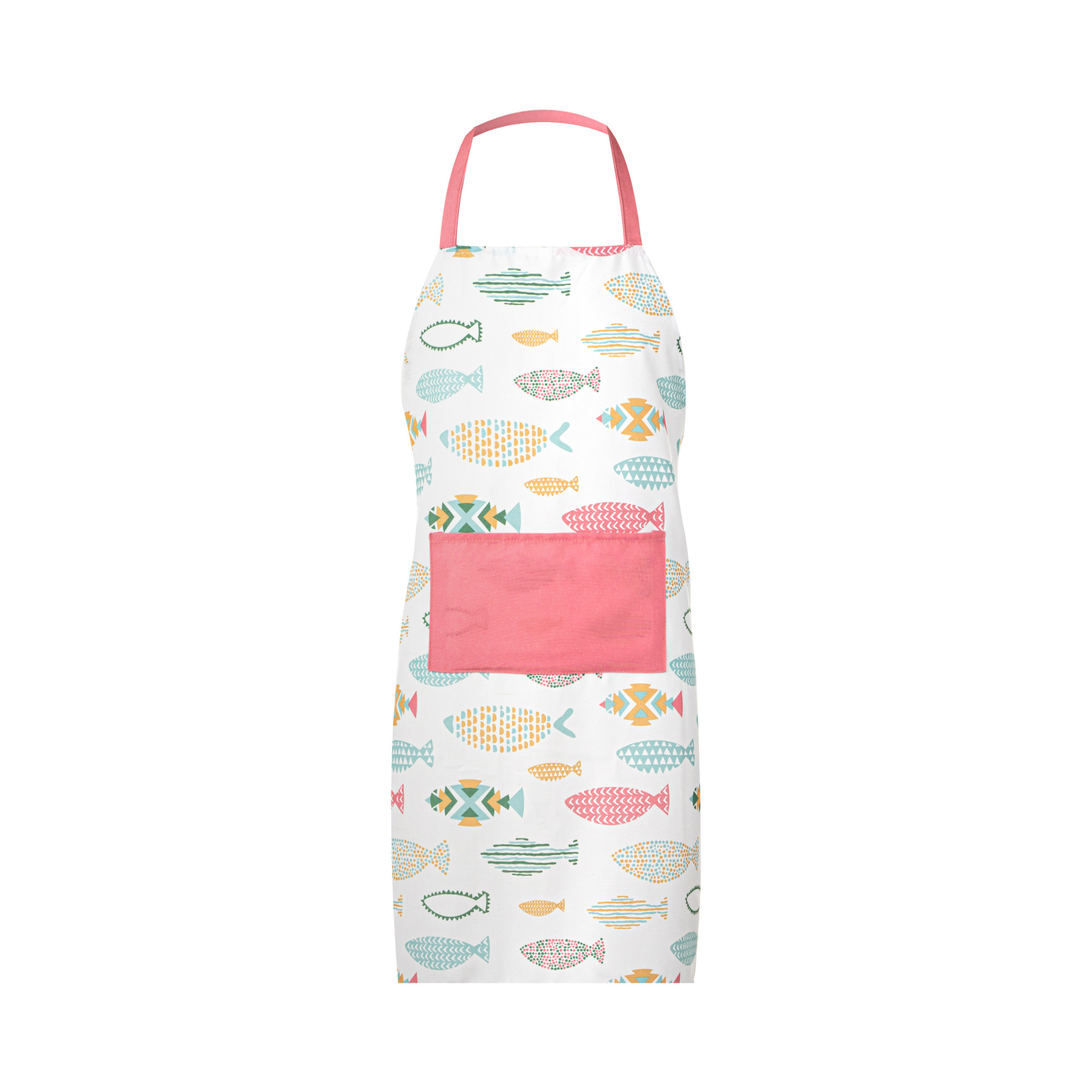 Fishes Printed Kitchen Set. Apron With Pocket, Oven Mitt & Potholder.  Easy Care Polycotton. Multi-Color