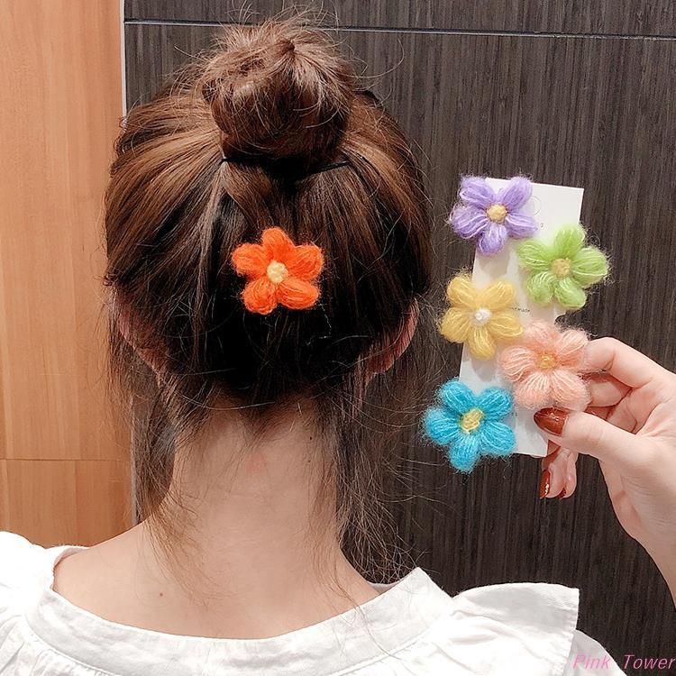 Girls Cute Plush Hairpin Colorful Flower Hair Bangs Clip Cartoon Barrettes Gift