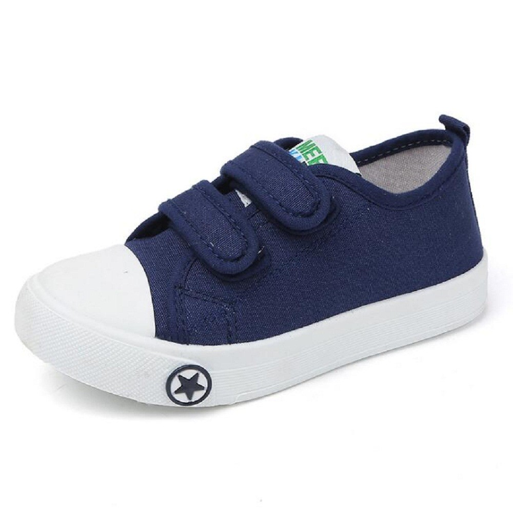 593e46fa1a Children Canvas Shoes Boy and Girl Velcro Casual Sports Shoes(NAVY)