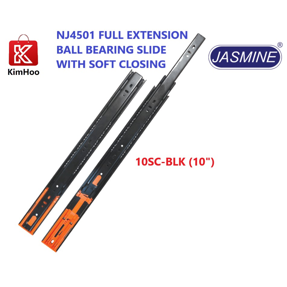 JASMINE NJ4501 FULL EXTENSION BALL BEARING SLIDE WITH SOFT CLOSING
