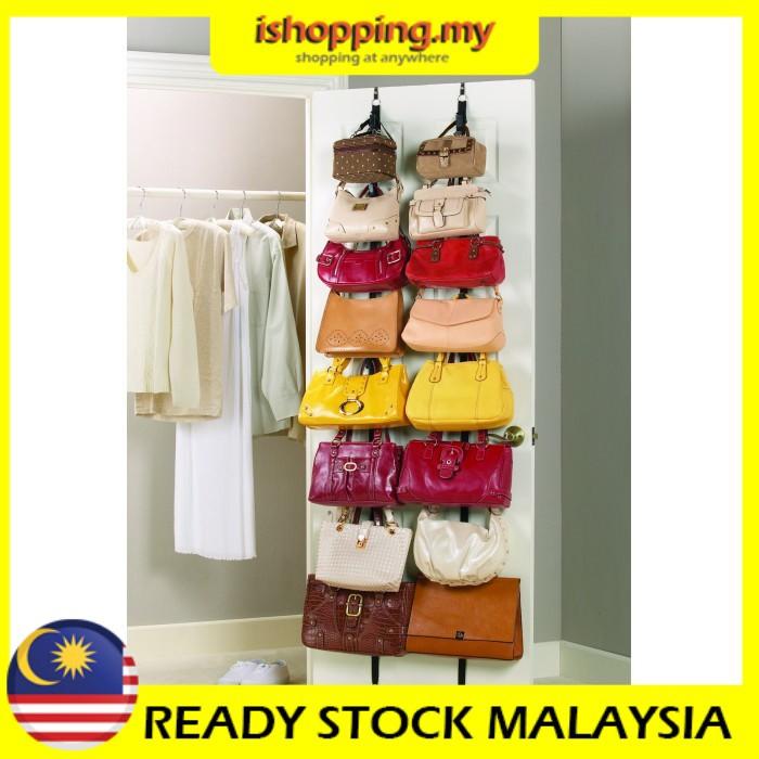 Penyangkut Baju Beg Bag Rack Over Door Straps Hanger Handbags Clothes