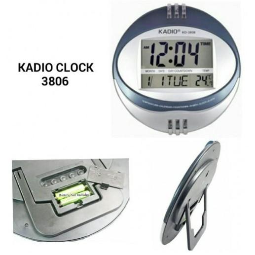KADIO Clock KD-3806 Digital Wall Clock With Temperature Reader Round Clock