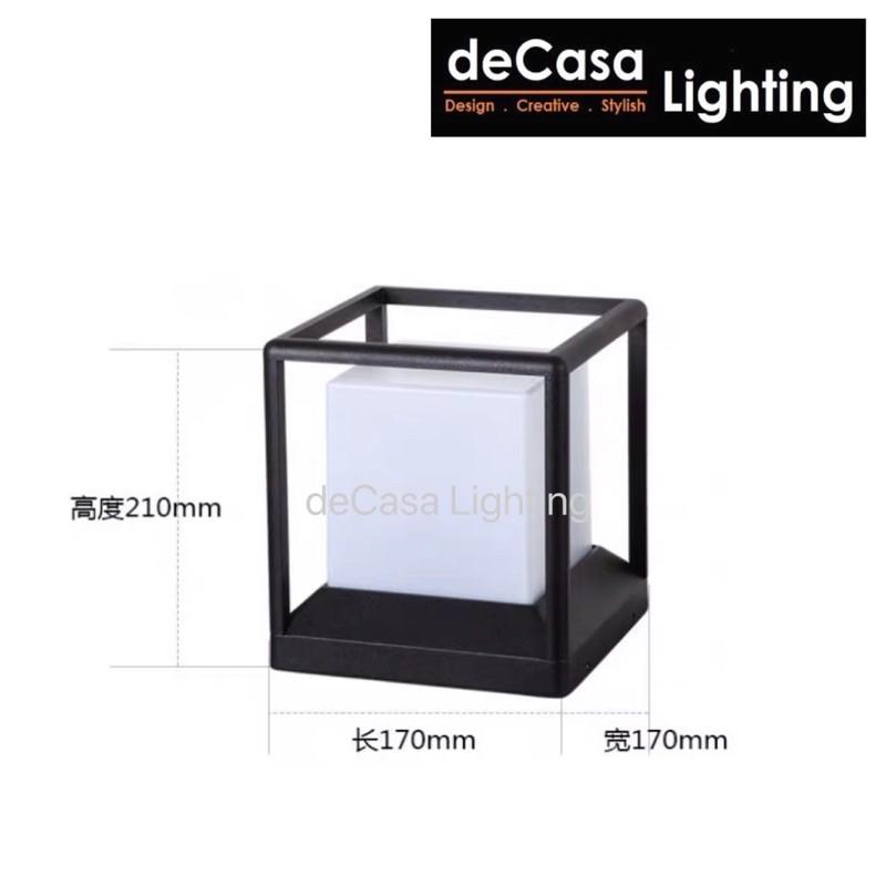 S Size Outdoor Pillar Light Black Cube Outdoor Lighting Decasa Lighting Lampu Pagar Outdoor Gate Lamp (1391)