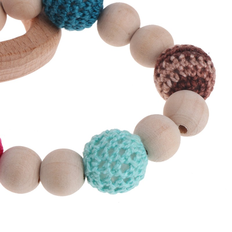 2Pcs Baby Nursing Bracelets Wooden Teether Crochet Chew Beads Teething Toys