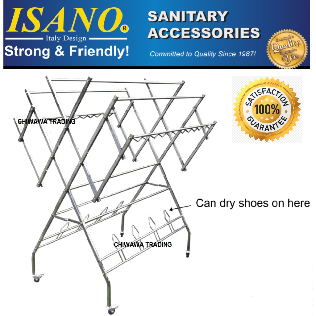 ISANO 1355DR W Type Stainless Steel Solid Clothes Drying Rack Cloth Shoe Hook 100kg GUARANTEE NOT RUST Rak Penyidai Baju