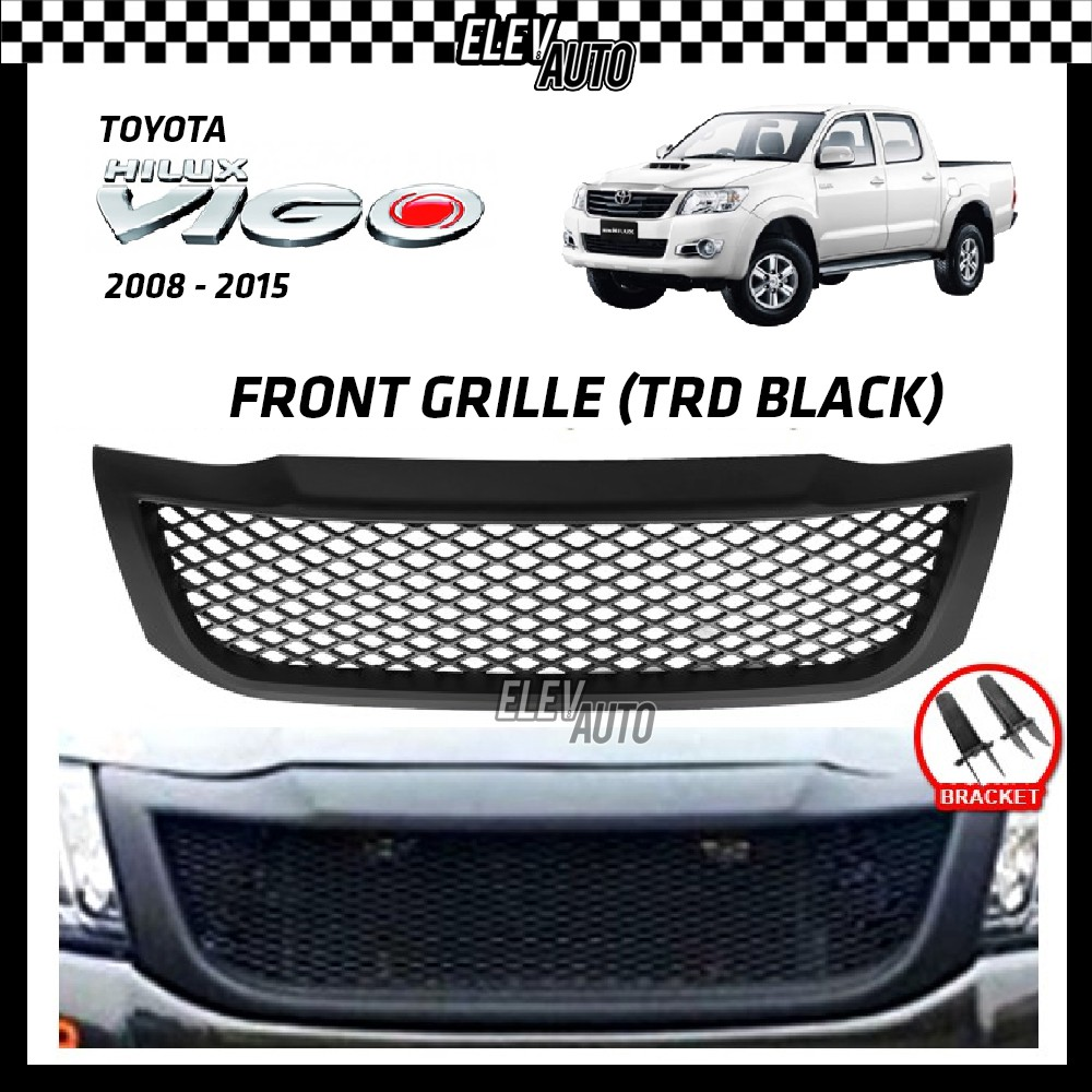Toyota Hilux Vigo 2014 2015 Front Grille Grill (TRD Black) With Bracket