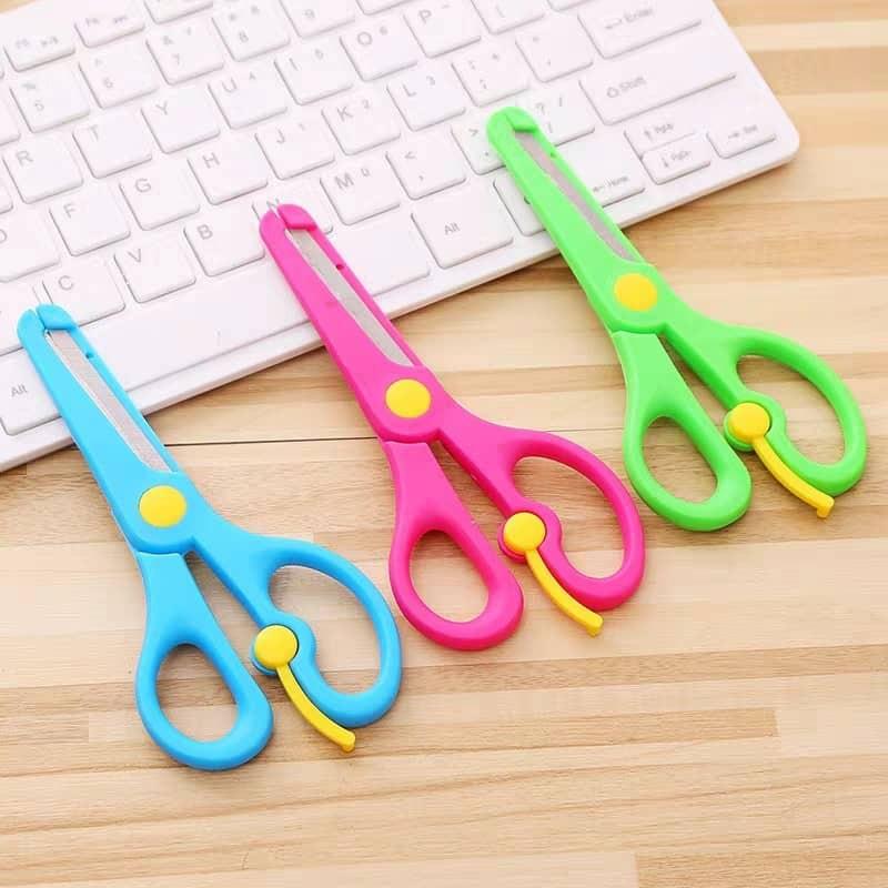 24pcs/box Kids Safe Spring Handle Scissors Mix Colour