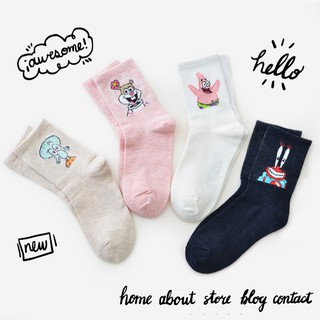 to buy 100% high quality modern design Fashion Pure Color Spongebob Print Cute Patrick Star All Cotton Socks Women