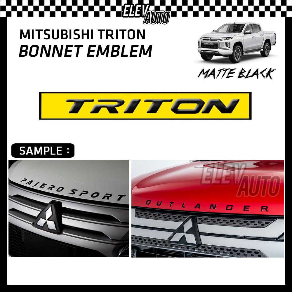 Mitsubishi Triton Matte Black Logo Bonnet Emblem 3D