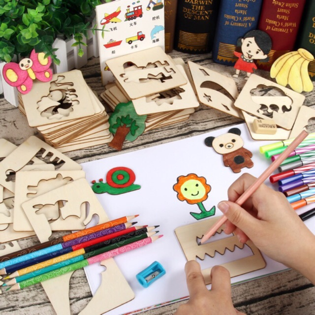 Early education material Early Learning Drawing Box 幼兒塗鴉繪畫模板益智玩具