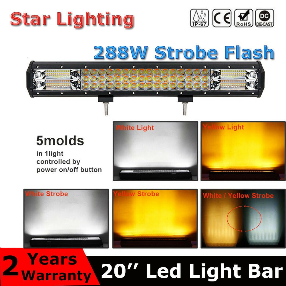 20inch 288W SUV truck off road Car White Amber Strobe Flash Led Light Bar 3  Rows