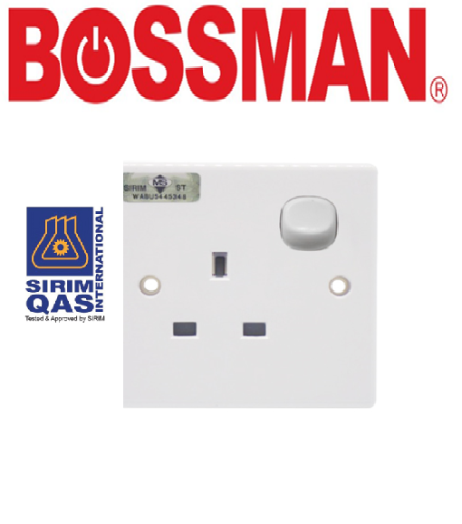 BOSSMAN 12A SWITCH SOCKET ELECTRICAL ACCESSORIES SINGLE SWITCH SOCKET OUTLET (13A SIRIM)