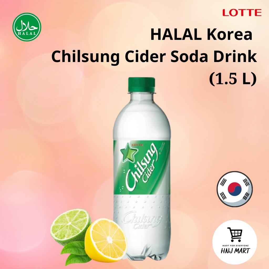 Halal Korea Lotte Chilsung Cider Soda 1.5Litre Korean Sprite Seven Up Lemon Lime Flavour