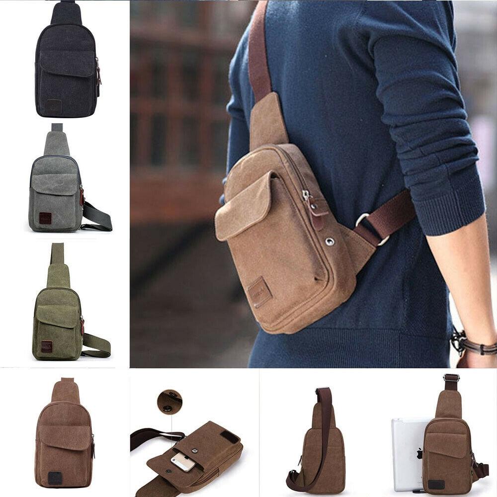 Men/'s Leather Chest Sling Day Pack Shoulder Bag Sport Travel Backpack Toothless
