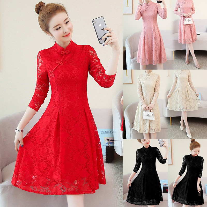 6e0c2dfd6 Classical Aristocratic Style Slim Sexy Flower and Bird Embroidery Cheongsam  | Shopee Malaysia