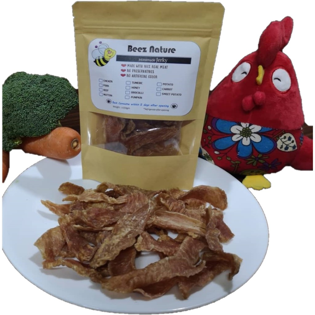 Homemade Dehydrated Chicken with Vege & Turmeric (Honey optional) jerky for furkids (150g)