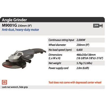 MAKITA M9001G 2000W 230MM 9INCHES LARGE ANGLE GRINDER CUTTER