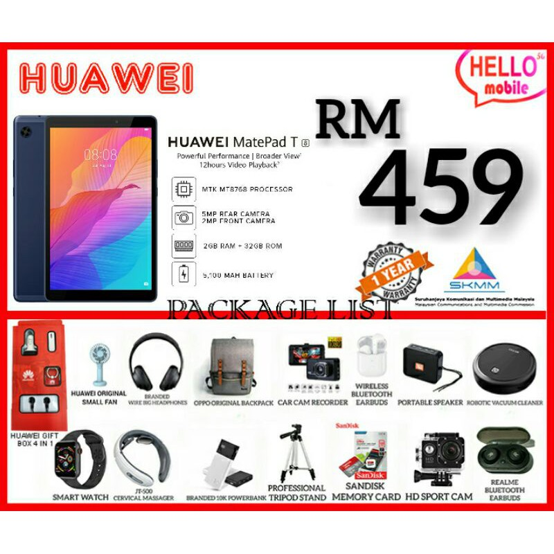 HUAWEI TABLET T8 MATEPAD 2GB+32GB SPECIALLY FOR CHILD 100% ORIGINAL WARRANTY BY HUAWEI/READY STOCK