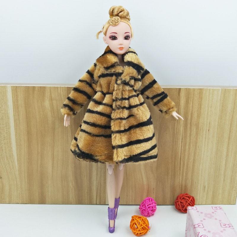 "Zebra Animal Print Fashion Doll Clothes For 11.5/"" Doll Coat Winter Wear Dress"