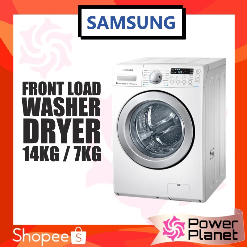 Samsung Washer Dryer Wd14f5k5asw Front Load 14kg 7kg With Eco Bubble Shopee Malaysia