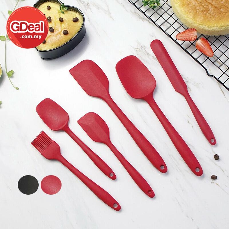 GDeal Kitchenware 6pcs Baking Accessories Cream Silicone Scraper Set Spatula سيت سڤتول