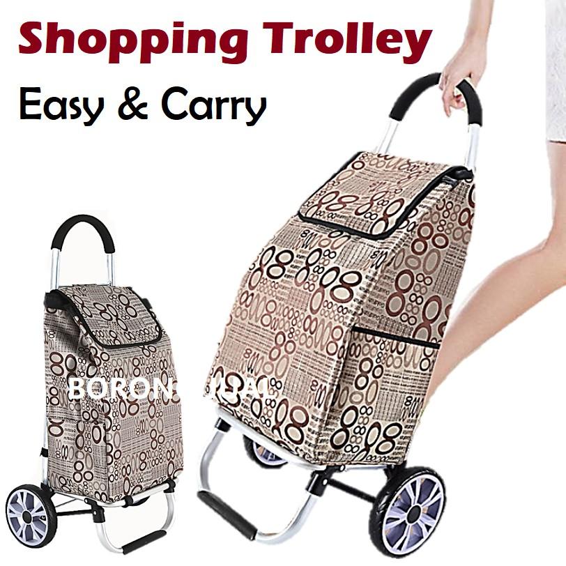 Aluminium Shopping Cart Market Trolley Foldable Hand Trucks / Kereta Tolak Troli