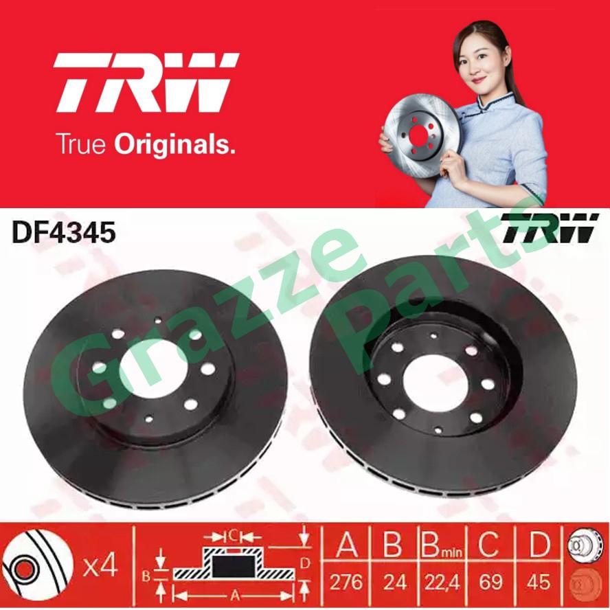 (2 pcs) TRW Disc Brake Rotor Front for DF4345 Mitsubishi Galant IV 1992-2000 (276mm)