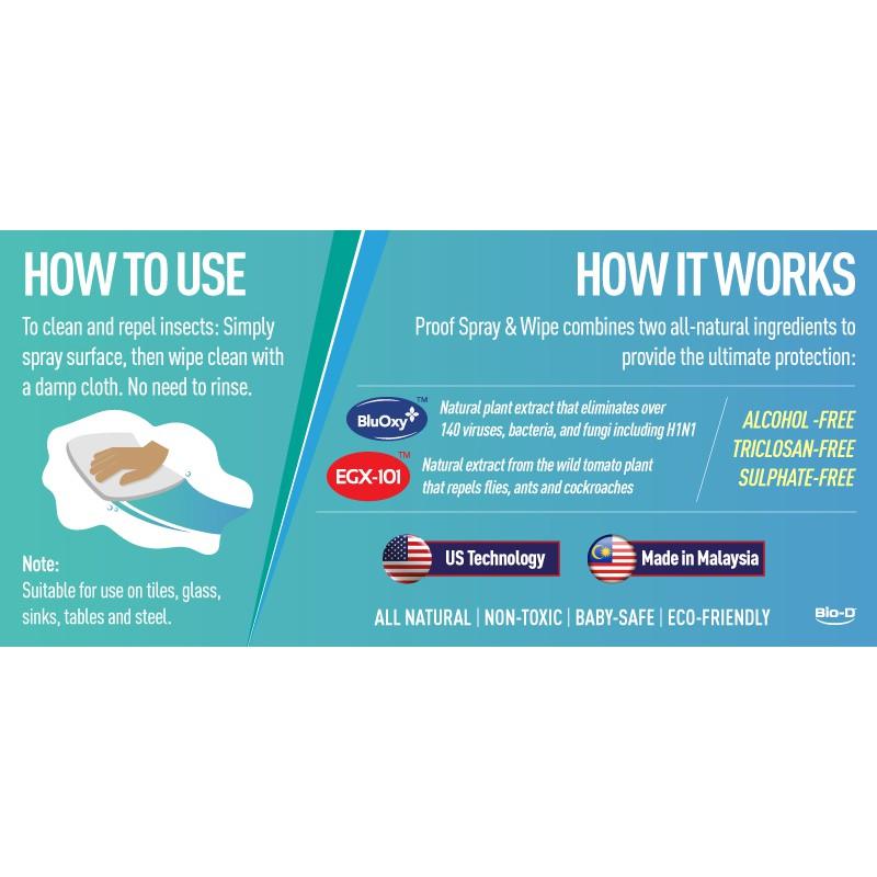 Bio-D Proof Multi-Purpose Spray & Wipe 500ml (Antibacterial Spray)