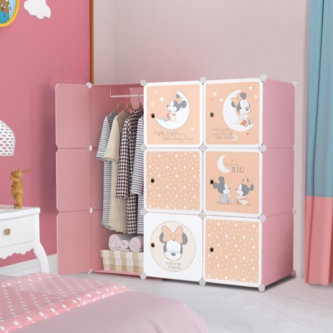 MALAYSIA: BABY MINNIE 9 cube DIY Multipurpose Wardrobe Cabinet Clothes Storage Organizer Almari Rak