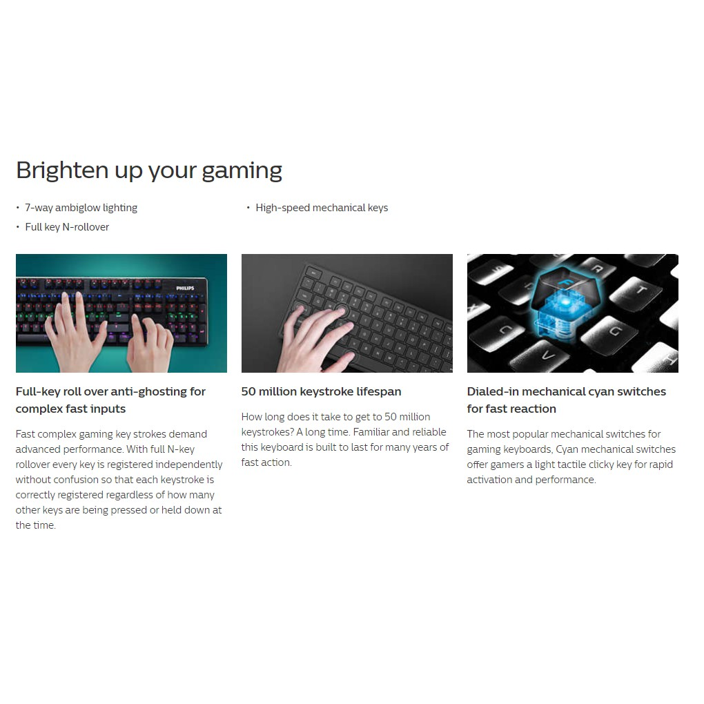 PHILIPS G403 SPK8403 WIRED GAMING KEYBOARD WITH RAINDOW BACKLIT