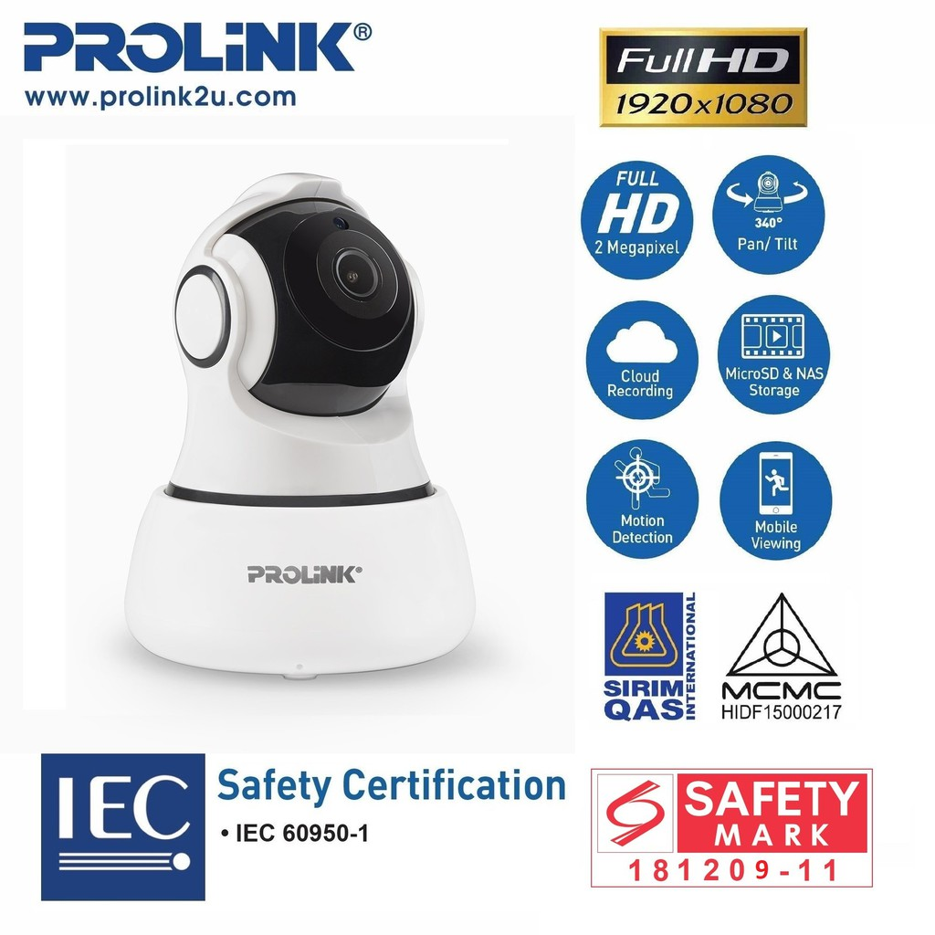 PROLiNK 1080p Full HD Wi-Fi Pan/Tilt IP Camera CCTV Ceiling/Wall Mount Night Vision PIC3001WP