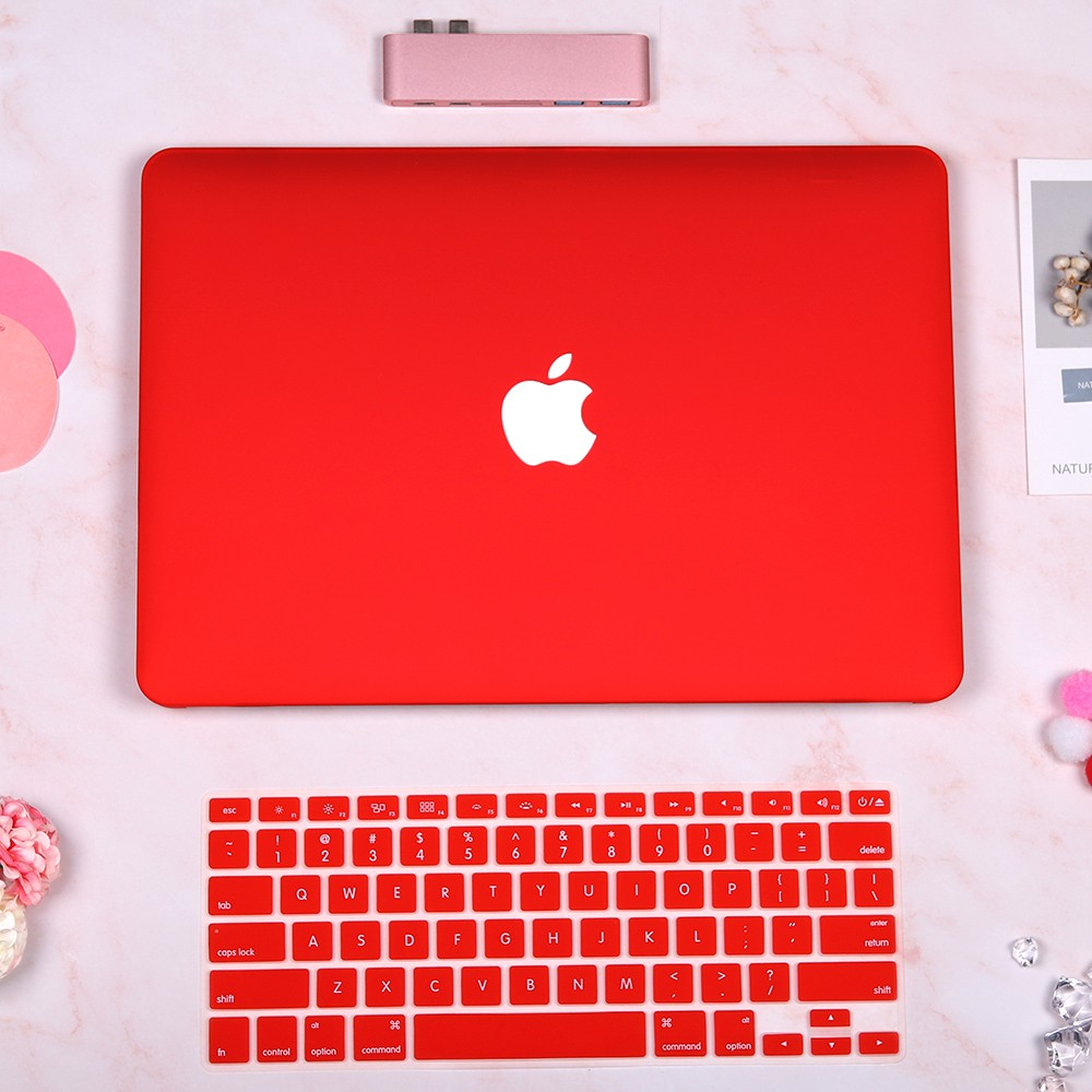 on sale 42044 1a008 Hot Red Matte Hollow Logo Case MacBook Air 11 12 Pro 13 15 with Keyboard  Cover
