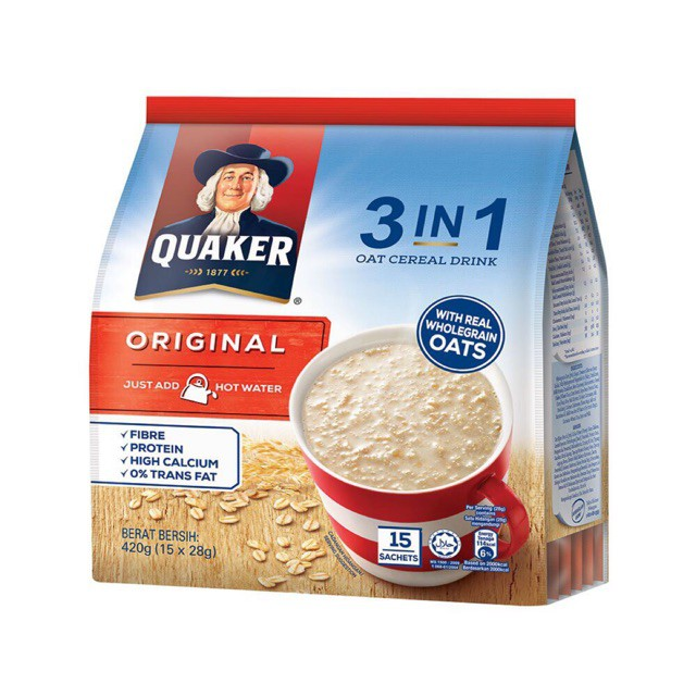 Quaker Oat 3 In 1 Oat Cereal Original Drink | Shopee Malaysia
