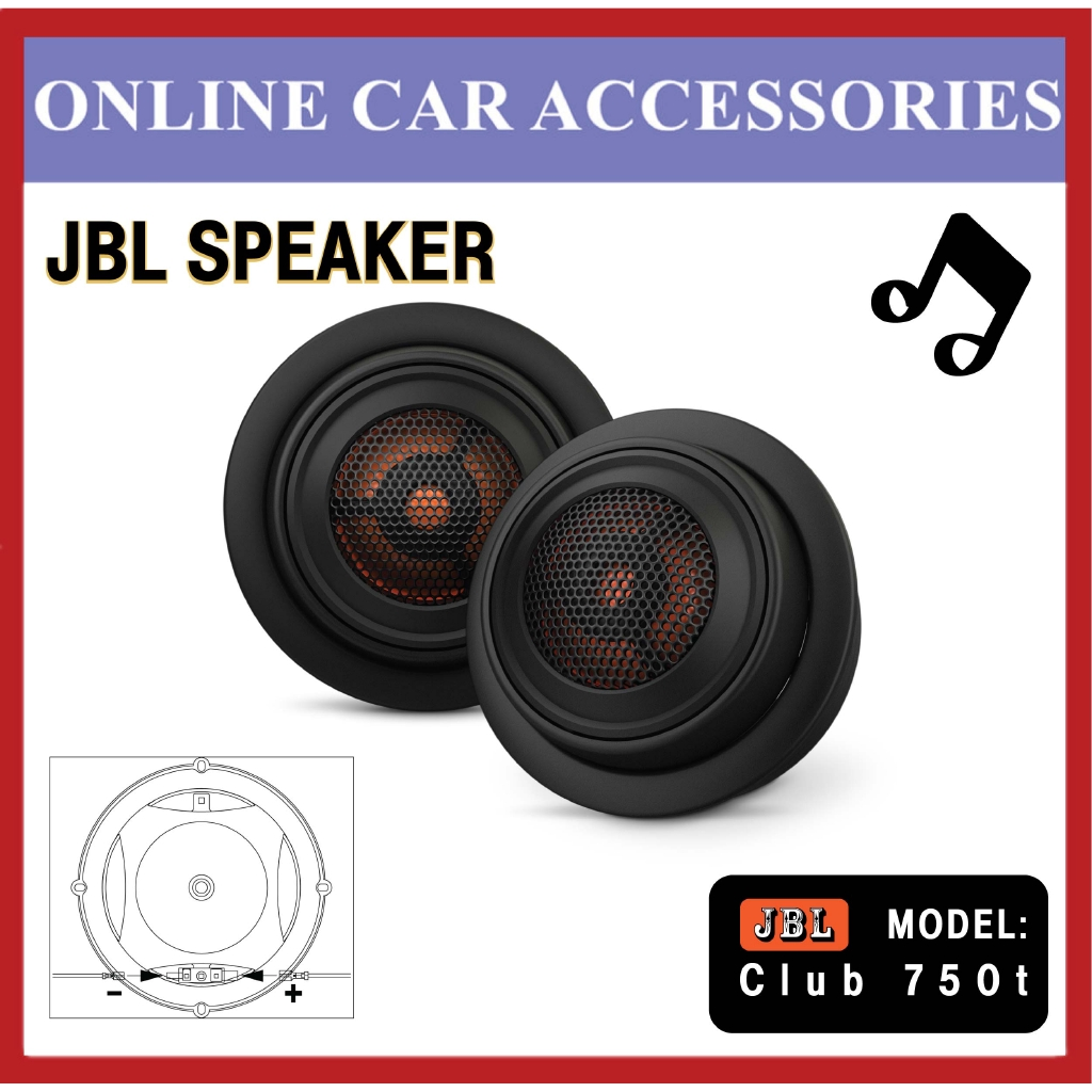 """JBL Club 750T 3/4"""""""" Component Tweeters 3 Ohm 90 Watts RMS Car Spearker Stereo"""