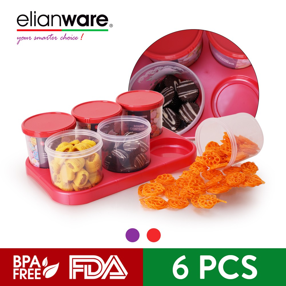 Elianware Edisi Raya (6 Pcs) Round Snacks Candy Container with Tray Bekas Kuih Raya
