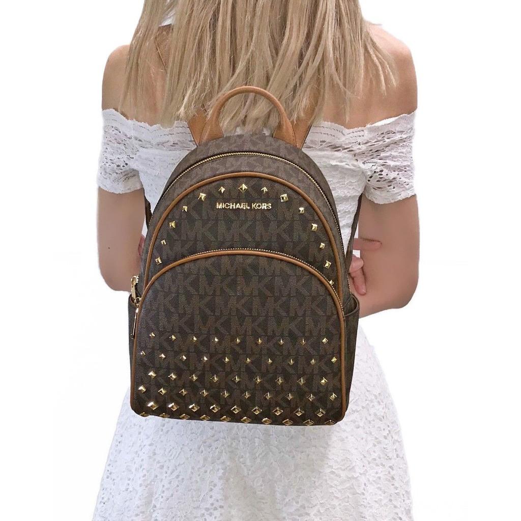 f69b788803f0c5 MICHAEL KORS Abbey Medium Studded Optic White Leather Backpack 35T8GAYB2L |  Shopee Malaysia