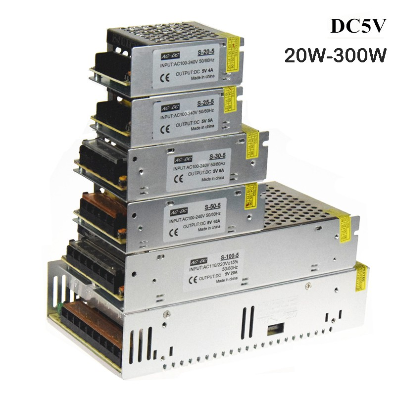 DC 24V 10A 20A 30A Regulated Switching Silver Metal Power Supply for LED CCTV